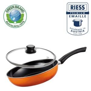 【Riess】奧地利國寶陶瓷琺瑯單柄平底鍋28CM(橘)