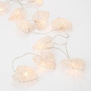 10燈LED 白色藤製心形造型燈暖白