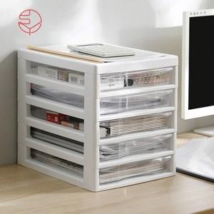 【日本霜山】日系辦公桌上型A4文件收納櫃-5低抽-白單一規格