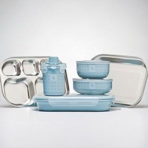 美國 Kangovou 小袋鼠不鏽鋼安全兒童餐具組-野莓藍