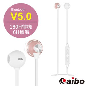 【aibo】BTM4 垂直入耳式 藍牙V5.0運動耳機麥克風玫瑰金