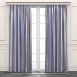 簡約色條印花遮光窗簾 寬290x高240cm 黃色