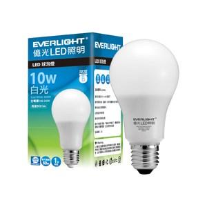 億光 10入超值組 10W 全電壓 LED 燈泡 E27(白光/黃光)白光 6500K-1