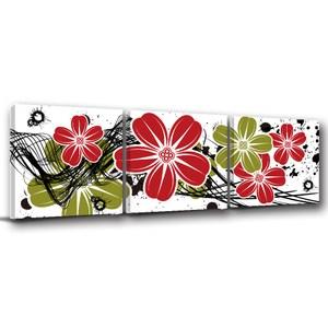 24mama掛畫-三聯式 現代插畫 潑墨 紅綠花卉無框畫-40x40cm