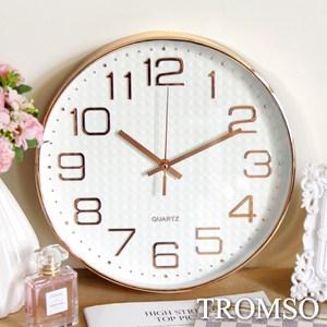 TROMSO紐約時代玫瑰金靜音時鐘金采方格白