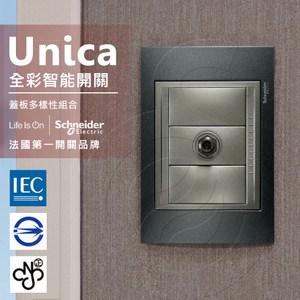 法國Schneider Unica Top埋入式高屏蔽電視插座-金屬灰