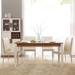 林氏木業現代簡約小戶型餐桌 CP1R+餐椅 BI3S(一桌四椅)-淺胡桃