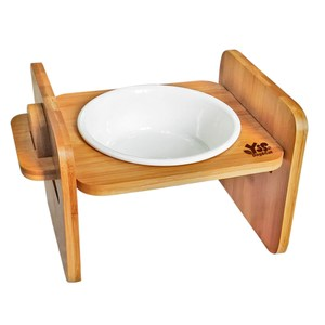 JohoE嚴選 職人木匠可調式平面寵物餐桌附瓷碗-單碗