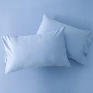 HOLA 經典素色純棉美式枕套 2入 灰藍色
