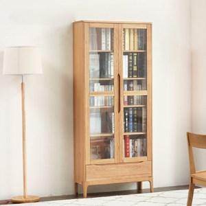 原木日式半島白橡木實木雙門玻璃高書櫃 w0456