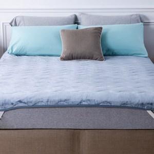 HOLA 發熱法蘭絨防靜電兩用保暖墊 單人 藍