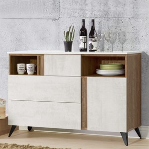 Homelike 席卡4尺餐櫃(含石面)-免組裝