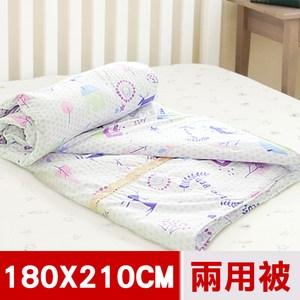 【米夢家居】原創夢想家園系列-台灣製造精梳純棉兩用被套(白日夢)-雙人